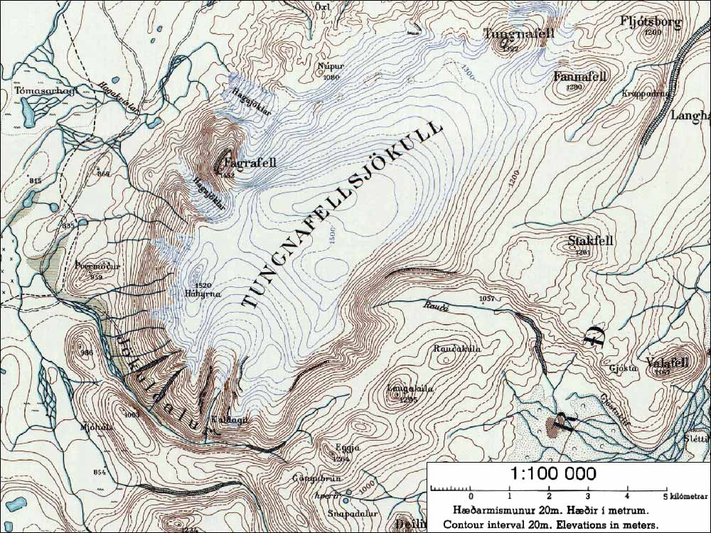 carte du glacier islandais Tungnafellsjokull