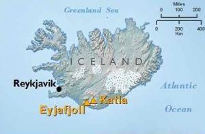 situation géographique du volcan katla en Islande