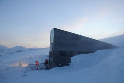entrée du réservoir de semences du Svalbard