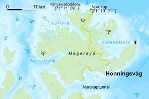 carte de l'ile Mageroya en Norvege