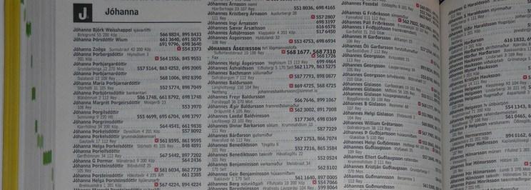 photo d'une page d'annuaire islandais