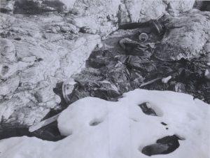 Photo des Restes de l'expédition Andrée trouvée en 1930.