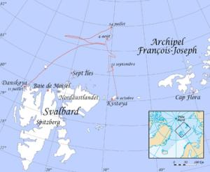 carte du parcours de l'expédition Andrée