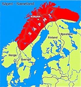 carte du territoire sami sapmi