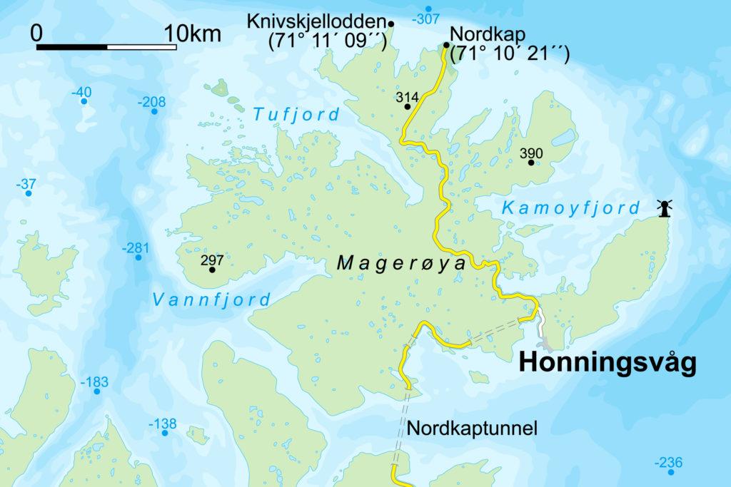 carte ile Mageroya norvège