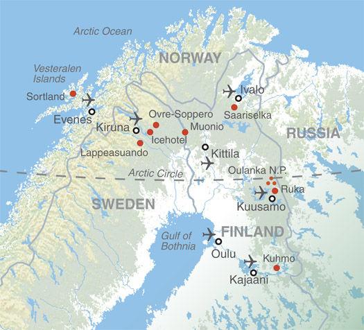 carte de la norvège arctique