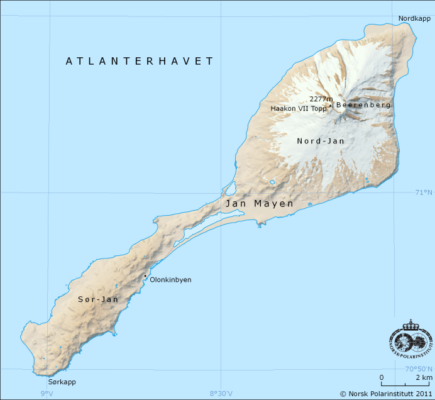 carte ile jan mayen norvege