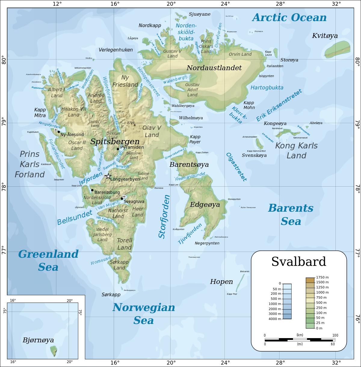carte svalbard norvège