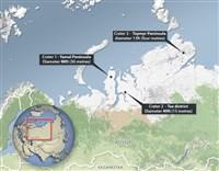carte des trous dans le permafrost en sibérie